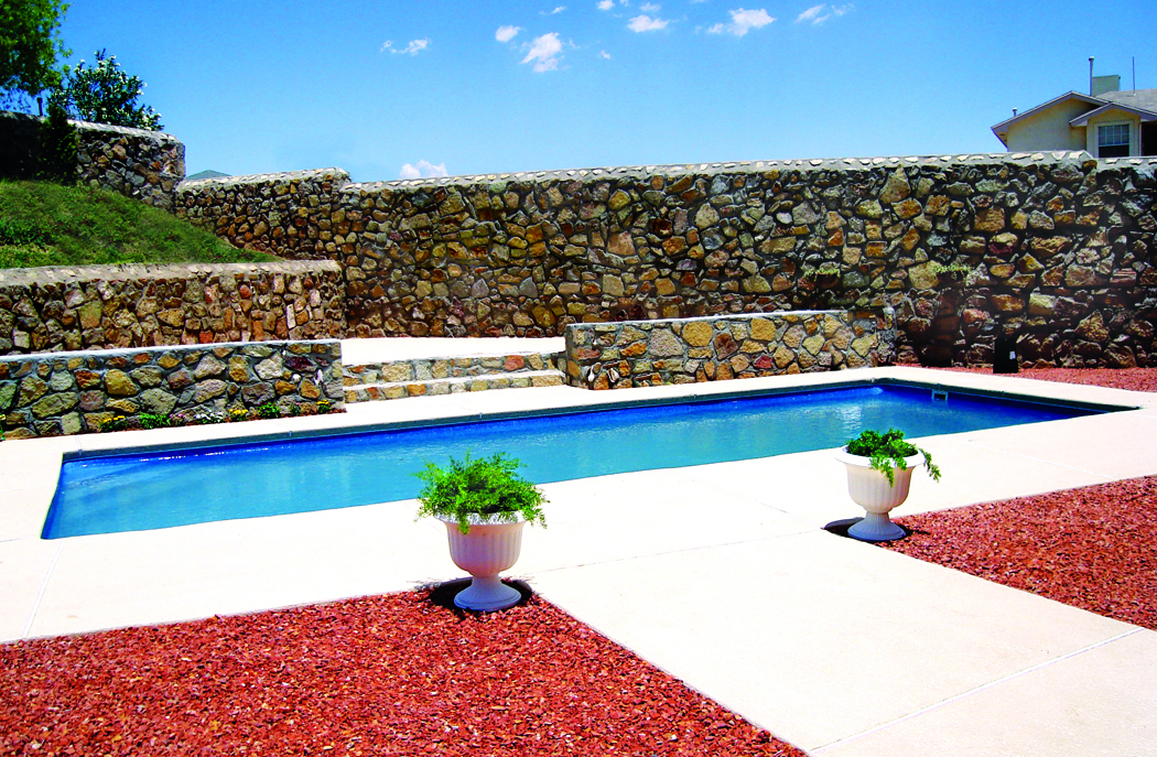 Viking Rectangle Pools with rock background El Paso Texas